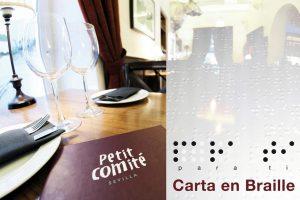 Petit Comite Restaurante Carta Braille
