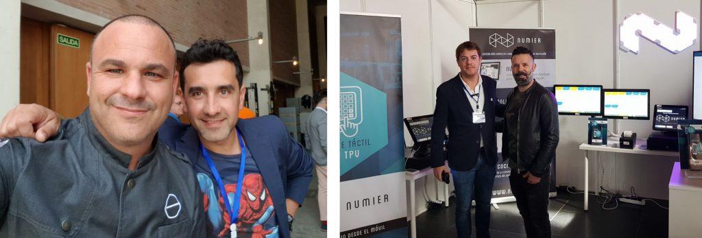 El Chef Angel León con Jorge Bravo CEO en NUMIER (Izqda) y El Chef Daniel Alvarez con Alvaro Fernandez CEO en NUMIER (Dcha.)